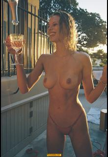 Victoria Germyn topless with Champagne