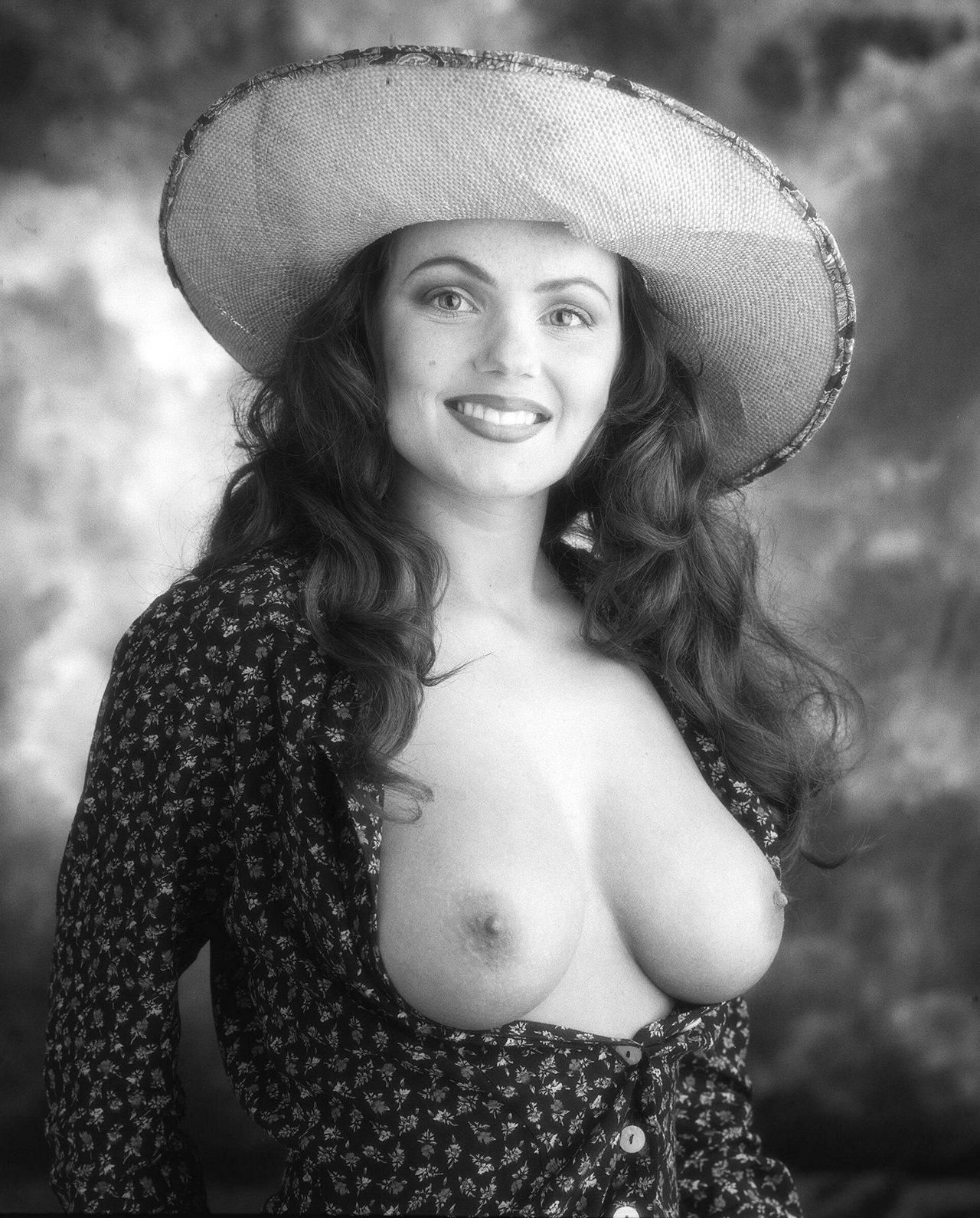 Geri Halliwell Nude Pics geri halliwell topless in a hat black-&-white photo