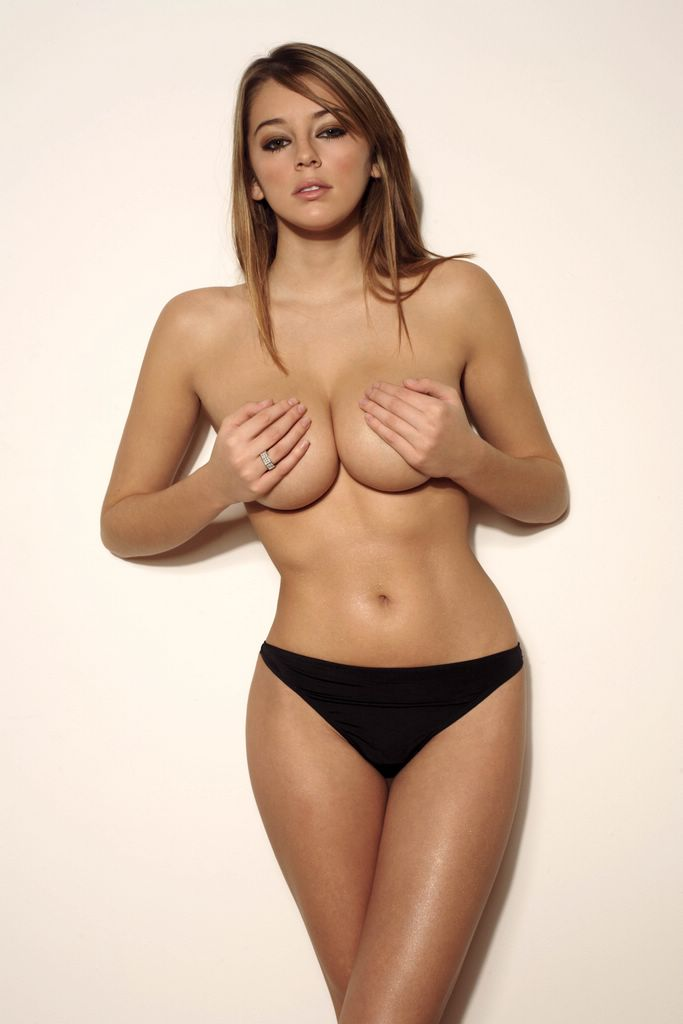 Keeley Hazell posing topless cover her boobs