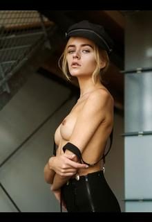 Yana Nahorniak topless in a hat