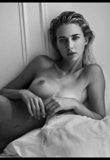 Margot Milani naked black-&-white image
