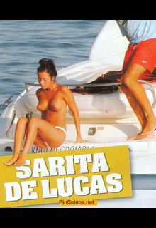 Sara de Lucas topless on a boat paparazzi photo