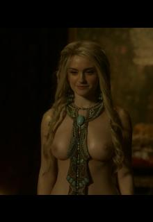 Swedish actress Alicia Agneson shows her nude boobs in Vikings