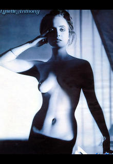 Lysette Anthony topless black-&-white photo